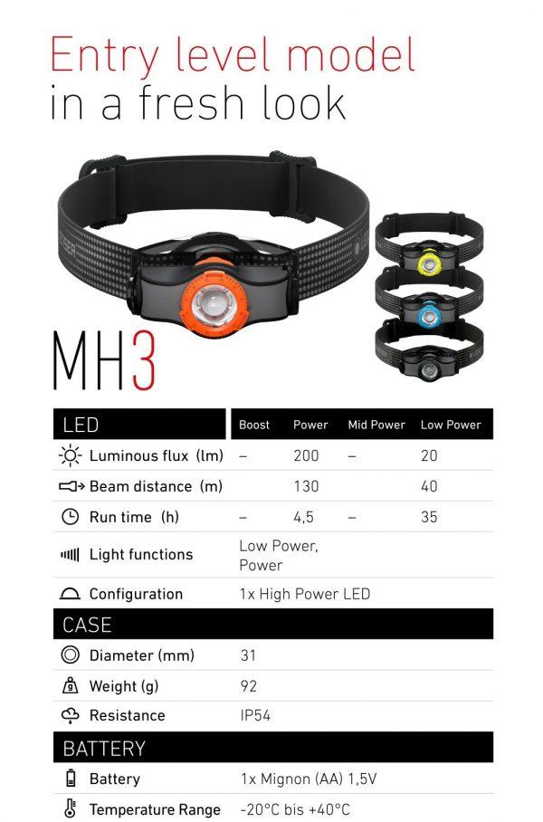 HEADLAMP LED LENSER MH3 BLACK/ORANGE